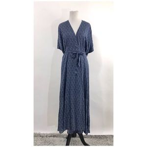 SANCTUARY Mischa Blue Floral Wrap Dolman Dress S